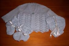 BABY MATINEE JACKET,BONNET AND BOOTEE SET [ HAND KNITTED ]