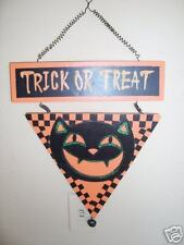 Wooden Black Cat Halloween Decoration Hanging