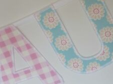 PERSONALISED BUNTING GIRLS BIRTHDAY New baby baby banner name turquoise gingham