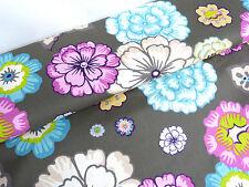 BW Stoff Öko tex Vorhangstoff Baumwolle Blumen grau türkis lila Meterware 23077