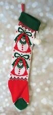 "Vintage 23"" Sweater Knit Christmas Stocking Snowman Bells Red Green Pom Poms"
