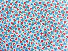 TWO YARDS VINTAGE 1950's / 60's  HEART AND FLOWER COTTON FABRIC 37 INCHES WIDE