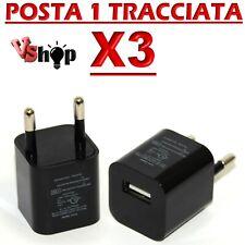 3 SPINA CARICABATTERIA PRESA NERO BIANCO USB PER IPHONE IPOD TABLET UNIVERSALE