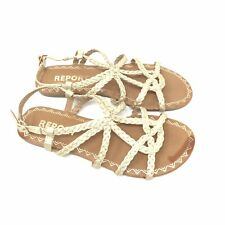 Report Sandals Size 6 Womens Gold Gina Strappy Shoes Braided Slingback Casual