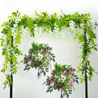 2M artificiel Wisteria faux feuillage fleur suspendu guirlande plante décoration