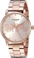 Coach Grand BOYFRIEND Rose Tone Carriage Bezel Bracelet Watch 14503076