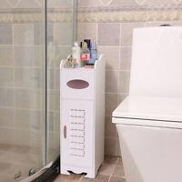 White Wooden Bathroom Cabinet Shelf Cupboard Bedside Storage Free Standing Unit