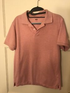 Uniqlo Men Pique Polo Shirt Small Short Sleeve Collared Cotton Blend Pink