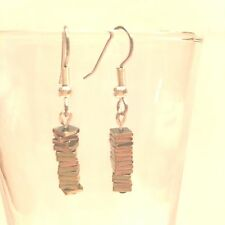Steel Fish Hook Ear Wires #71 Yellow Gold Plate Stacked Squares With Surgical