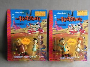 "2 packs of The Flintstones 3"" Clockwork Wind-up Walking Figurines 1990s MOC"