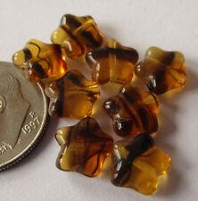 100 New Czech Glass 8mm Tiger Stripe Tortoise 5-Pointed Star Beads