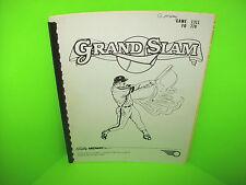 Bally GRAND SLAM 1983 Original Pinball Machine Service Manual w/ Schematics