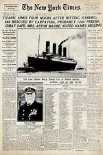 TITANIC ~ NEW YORK TIMES HEADLINE 24x36 POSTER History April 16 1912 Cover Movie