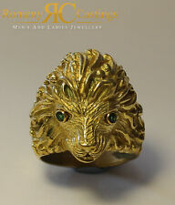 6856eba0c 925 Silver Lion Head Ring 18 grams With Emerald Eyes Dipped in 9 ct Gold  20x20mm