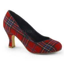 Red Plaid Pinup Girl Swing Dance 1940s Costume Shoes Heels Womans size 6 7 8 9