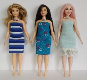 Fits CURVY BARBIE Clothes 6 Pc Lot of Dresses & Jewelry Fashions NO DOLLS d4e #4