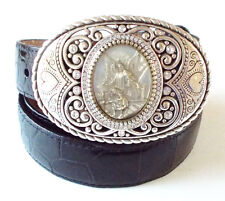 Brighton Black Leather Belt - Guardian Angel Oval Buckle with Crystals- Size 34