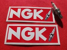 "Pair NGK spark plugs red 6"" stickers"