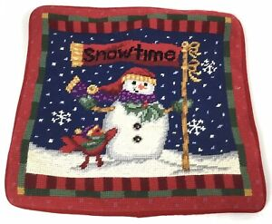 "Christmas Needlepoint Pillow Cover Snowtime Snowman 13"" x 13"""