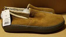 Men's Carson Brown Suede Fleece-Lined Indoor/Outdoor Moccasin Slippers - NEW