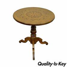 19th C Antique Italian Sorrentino Parquetry Inlaid Round Pedestal Center Table