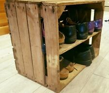HANDMADE WOODEN APPLE CRATE SHOE RACK