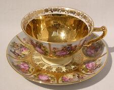 1960s HUTSCHENREUTHER FRAGONARD LOVE STORY GOLD GILDED CUP & SAUCER - Mint Cond