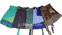 10 Pcs Vintage 2 Layer Silk Sari Magic Wrap Around Skirt Dress Beach Wear Sarong