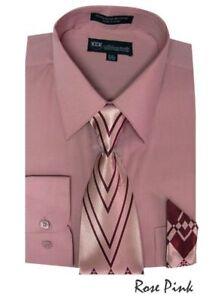 New Men's Dress Shirt w/ Matching Tie and Handkerchief Set  SG-21 A&B