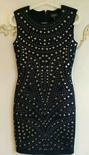 Topshop Navy Blue Studded  Stretch Embellished Bodycon Dress Size  UK 8