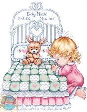 Cross Stitch Kit ~ Design Works / Tobin Bedtime Bed Girl Birth Record #T21709