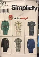 Simplicity Pattern 7371 Misses'/Petite two piece Lined Suit Size 12,14,16 uncut