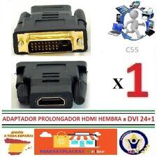 Adaptador Conversor HDMI HEMBRA A DVI 24+1 MACHO Conector Clavija Bañado Oro C55