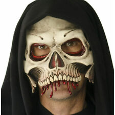 Skull Cranium Hooded Premium Half Face Latex Mask Halloween Costume Accessory