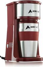 AdirChef Ruby Red Grab N' Go Personal Coffee Maker with 15 oz Travel Mug