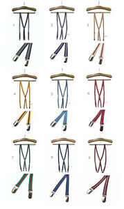 Stripe Skinny Thin Braces Suspenders, 1.5cm Wide, Unisex, Mod, Preppy Free P&P
