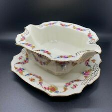 "Epiag China 9954-9155 Gravy Boat 7.5"" Czechoslovakia 1938 Floral Swag"