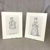 1842 Antico Moda Impronte King Edward VI Royal Costume Storico Periodo