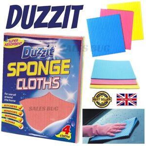 4 Duzzit Super Absorbent Sponge Cloths Floor Kitchen Window Cleaning Mirror Bath