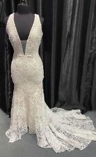 Boho White/Nude Plunging Embroidered Lace Mermaid Wedding Dress, NEW, Sz 14