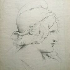 Large Academic Drawing, study of woman's head, late 19th century
