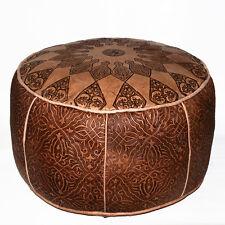 Orientalische LEDER Sitzkissen Hocker Ottoman HANDARBEIT Bodenkissen Konsul D50c
