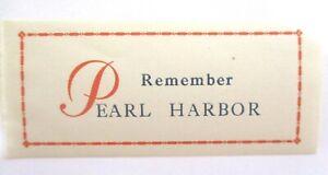 "Cinderella  U.S. WWII  ""REMEMBER PEARL HARBOR""   MNH OG  See Pic"