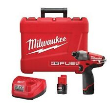 """Milwaukee M12 FUEL 1/4"""" Hex Brushless Impact Wrench Kit w/ 2 Batteries #2453-22"""