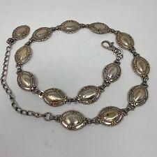 1990s Vintage Fossil Metal Round Link Chain Belt