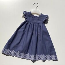 Baby Girl Clothes 6-9 Months Outfit Denim Look Blue Dress White Embroidery Hem