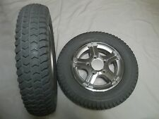 """Quantum Drive Wheels (3.00-8) 14""""x3""""  Flat-Free Tires  Assembly for Wheelchairs"""