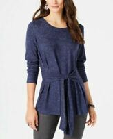 Style & Co. Womens Tunic Blouse Blue Heathered Scoop Stretch Tie Front L New