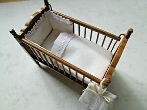 Hand Crafted Dolls House Cot Set - Bumper, Quilt, & Nappy Sack - 12th Scale