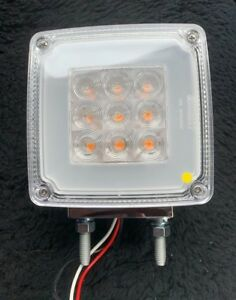 """4"""" Square 2 Post Indicator/Park Light Clear/Amber to suit WS,Kenworth & Mack"""